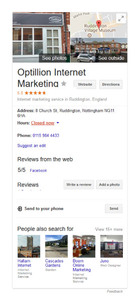 example Google My Business listing