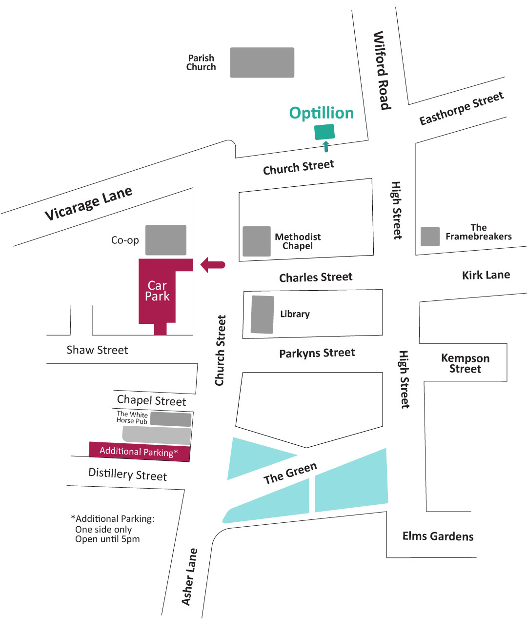 Ruddington street map showing location of Optillions offices